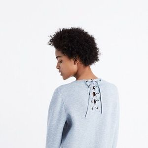 Madewell Lace Up Grey Blue Sweater